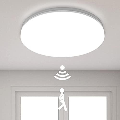 LED Deckenleuchte mit Bewegungsmelder Einstellbare 24W 2400LM, DODOPEN 4000K IP44 Wasserdicht Deckenlampe mit Bewegungsmelder Innen für Flur Garage Balkon Keller, ø28,5cm