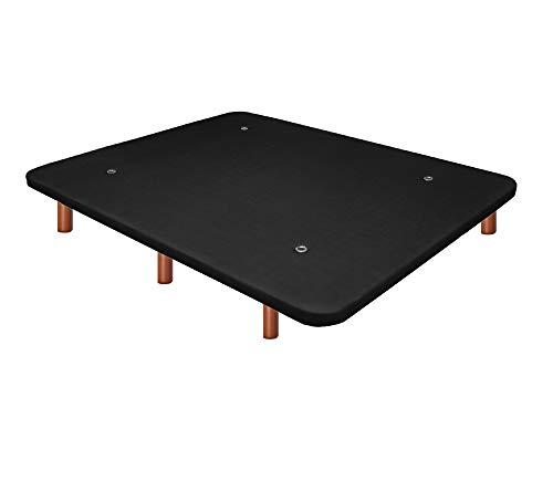 Duérmete Online Base Tapizada 3D Reforzada | Anti Ruido con 5 Barras de Refuerzo | Válvulas de Ventilación | 6 Patas Madera Color Cerezo, Negro, 135x190
