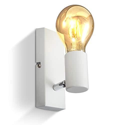 B.K.Licht Lampada da parete orientabile in metallo bianco, adatta per 1 lampadina E27 non inclusa max. 60W, applique da muro per salotto o sala, faretto stile industriale per entrata o scale IP20