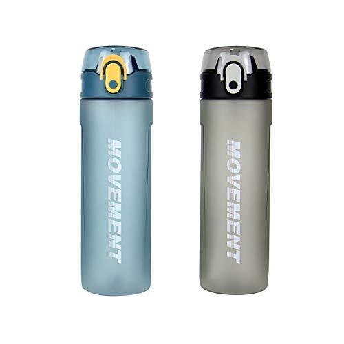 Botella de Agua con Pajita 650ml, PláStico No TóXico Sin Bpa, A Prueba de Fugas Y Asa de Transporte Botella Esmerilada Antideslizante Cuerpo Interior y Exterior Deportes Camping(Azul)