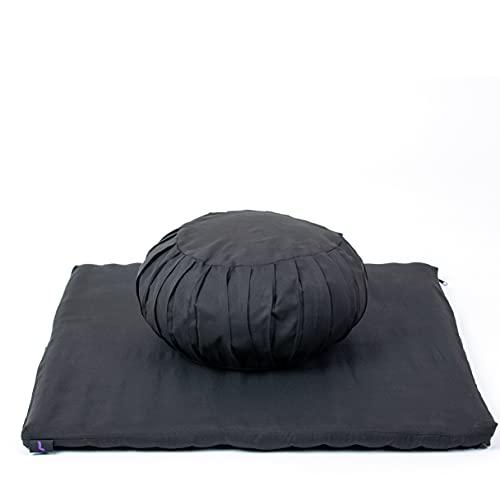 Leewadee Set de méditation avec Housses - Set de méditation en kapok, Coussin et Tapis de méditation à Housses lavables, Ensemble de 4 pièces, Noir
