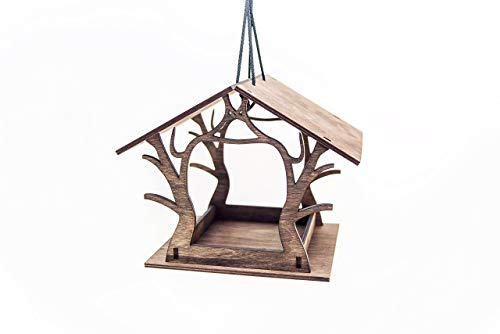 Handmade Wooden Hanging Bird Feeder 11.8 x 7.9 x 9.5 inches