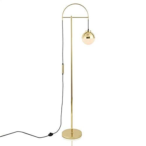 Hil Moderne minimalistische vloerlamp van glas, goudkleurige bol, woonkamer, modieus design, slaapkamer, nachtkastje, kantoor, vergaderkamer, smeedijzer