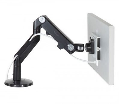 Price comparison product image Humanscale M8 Adjustable Articulating Computer Monitor Arm - Bolt Through Mount with Base - Black with Black Trim