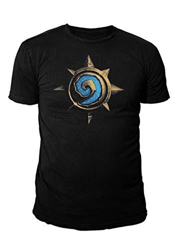 Hearthstone Premium Fantasy Herren T-Shirt Rose Logo (Navy Blau) (S-XL) (M)