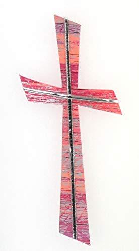 Wachsmotiv Kreuz rosa silber, multicolor mit silberfarbigen Wachsstreifen 11 x 5 cm - Wachsornament Kreuz, Wachsdekore für Kerzen - 9687 - zum Kerzen gestalten und basteln.