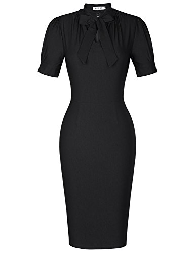 MUXXN Ladies Rockabilly Style Scoop Neck Empire Waist Wear to Work Dress (Black M)