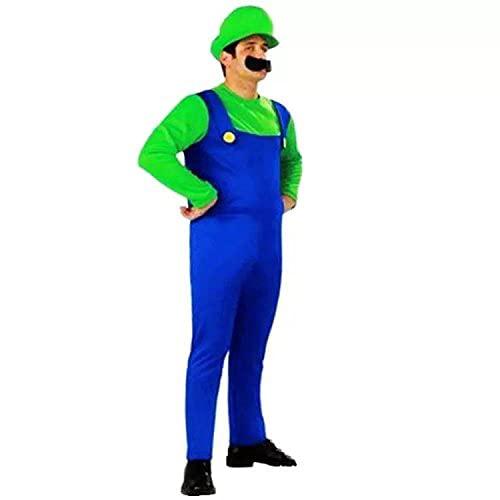 thematys Super Mario Luigi Chapeau + Pantalon + Barbe - Ensemble de Costumes pour Adultes - Parfait pour Carnaval & Cosplay (L, Hauteur 170-185cm)