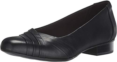 Clarks Womens Juliet Petra Pump, Black Leather, 9 M US