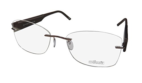 Silhouette 4448 Womens/Ladies Designer Rimless Titanium Eyeglasses/Eyewear (55-17-140, Brown)