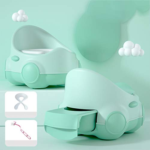 ADM6 My Cute Potty, Rückenschutz, Schublade Typ WC, Gemütlich PU Kissen, Stable Griffige Baby-Toiletten-Trainings-WC, beweglicher Griff, Auto-Form,Grün