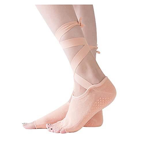YQwind 1 par Mujeres Yoga Calcetines algodón Cruz Correas Calcetines Transpirable Antideslizante Ballet Fitness Pilates 4 Estaciones Calcetines Deportivos Calcetines de Yoga (Color : Color)