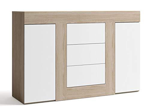 Miroytengo Aparador salón Color Blanco y Sable 3 cajones 2 Puertas Mueble Comedor 140x92x40 cm