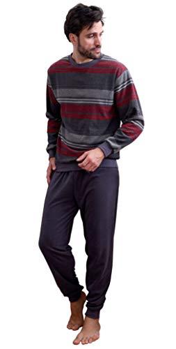Eleganter Herren Frottee Pyjama Schlafanzug mit Bündchen, auch in Übergrößen - 291 101 93 708, Größe2:60, Farbe:anthrazit-Melange