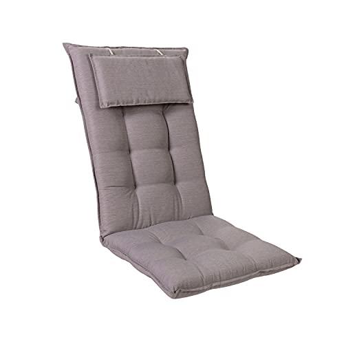 Homeoutfit24 Sylt - Cojín Acolchado para sillas de jardín, Hecho en Europa, Respaldo Alto con cojín de Cabeza extraíble, Resistente Rayos UV, Poliéster, 120 x 50 x 9 cm, 1 Unidad, Gris Platino