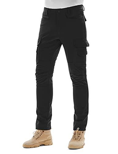 KUTOOK Pantalones Softshell Trekking Hombre Impermeables para Otoño Invierno Pantalones Senderismo Montaña con Forro Polar(HP025)