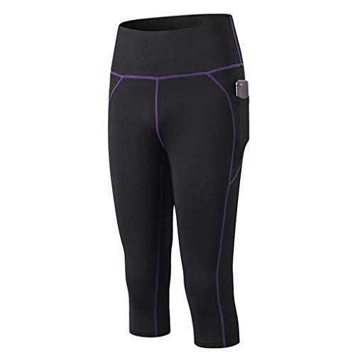 Shinehua Leggings Dames 3/4 lang sportbroek fitnessbroek lang figuurvormende broek Shaping Tights Capri hoge taille voor yoga Fitness met zijzakken