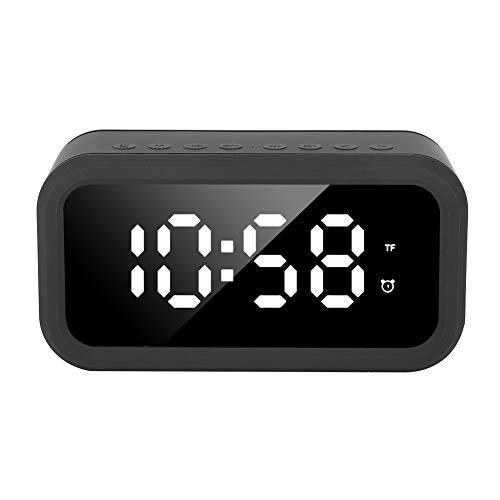 SALUTUY Reloj Despertador Digital LED, Reloj de Audio Compatible con Tarjeta de Memoria y reproducción Auxiliar para Dormitorio, Oficina en casa, Cocina(Negro)