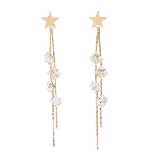 Pentagram kristallen ster ketting oorbellen Temperament Super Fairy oorbellen Premium lange overdreven oorbellen