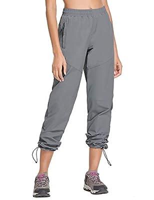 BALEAF Women's Lightweight Hiking Pants UPF 50+ Workout Pants with Zipper Pockets Grey Size M