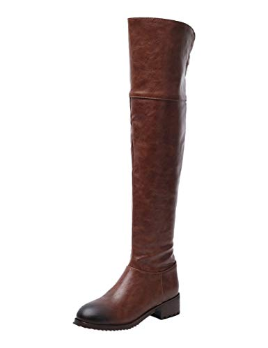 BIGTREE Damen Stiefel Winter Hohe Stiefel Leder Overknees Reitstiefel Mode Biker Boots mit Blockabsatz Braun 41 EU