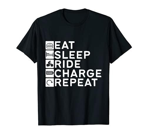 Divertido Scooter Rider Retro Comer Dormir Ride Repetición Camiseta