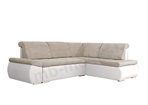 mb-moebel Ecksofa Sofa Eckcouch Couch mit Schlaffunktion und Bettkasten Ottomane L-Form Schlafsofa Bettsofa Polstergarnitur - Bonita (Ecksofa Rechts, Beige...