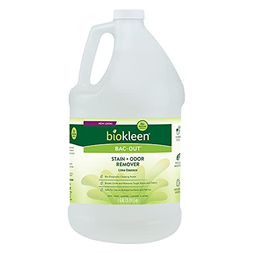 Product Image of the Biokleen Bac-Out Natural Stain Remover - 128 Ounce - Enzymatic Odor & Stain Remover, Enzyme Professional Strength, Destroys Stains & Odors Safely, for Pet Stains, Urine, Laundry, Diapers, Wine, Carpets - Eco-Friendly, Plant-Based