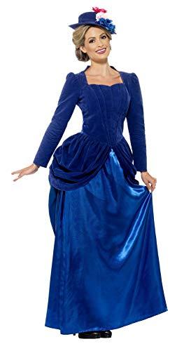 Smiffy's-43420S Traje de Lujo de Arpa Victoriana, con Top, Falda y Sombrero, Color Azul, One Size (43420S)