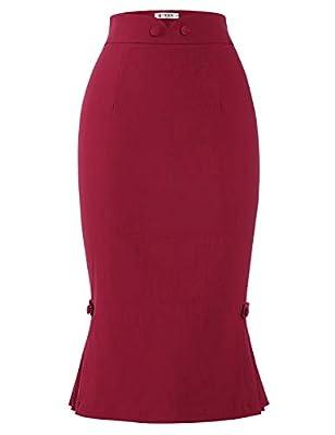 MUXXN Women's Audrey Hepburn 1950s Style High Stretch Bodycon Pleated Skirts