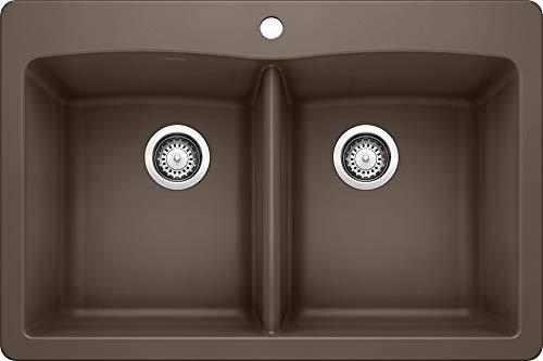"BLANCO, Café Brown 440218 DIAMOND SILGRANIT 50/50 Double Bowl Drop-In or Undermount Kitchen Sink, 33"" X 22"""