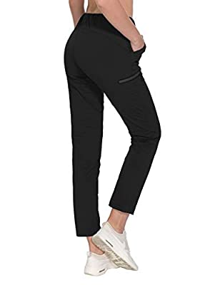 Little Donkey Andy Women's Ultra-Stretch Quick Dry Lightweight Ankle Pants Drawstring Active Travel Hiking Black XS