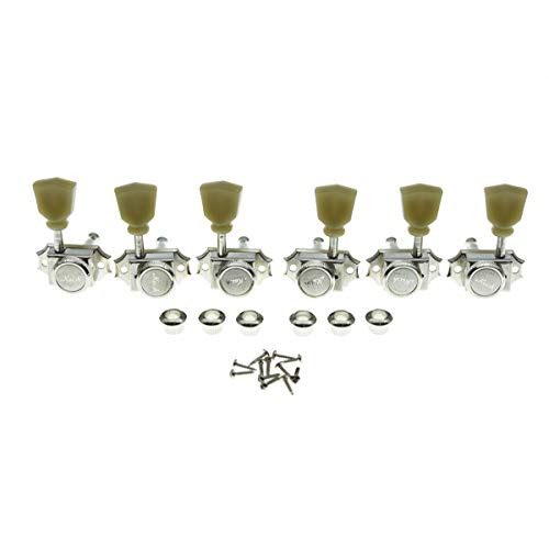 KAISH 3x3 Vintage Style Guitar Locking Tuners Guitar Tuning Keys Pegs Guitar Lock Machine Heads for Les Paul Guitars Nickel with tulip Button