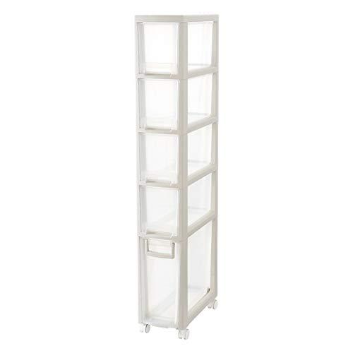 TXXM manufacture Cajonera de almacenamiento con costuras para armario, cajón de almacenamiento, armario de baño, cocina, estante de almacenamiento (color: blanco elevado, tamaño: cinco pisos)