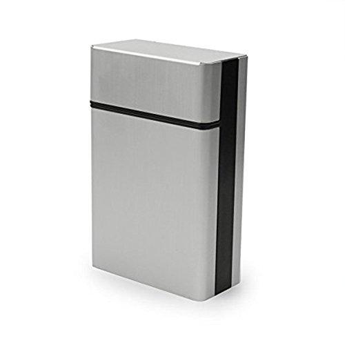PIXNOR - Custodia portasigarette in alluminio leggero, colore argento