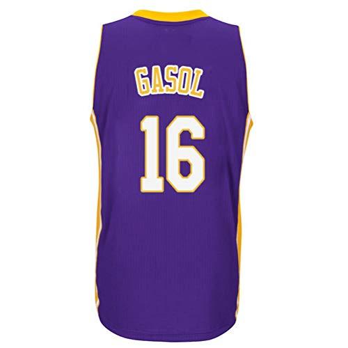 Rencai PAU Gasol # 16 Jersey de Baloncesto de los Hombres, Jerseys sin Mangas Lakers Alero Deportes Retro Los Ángeles Camisa (Color : 8, Size : XS)