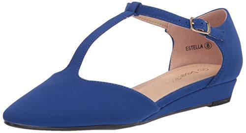 DREAM PAIRS Women's Royal Blue Low Wedge Ballet Flats Shoes Size 5.5 M US Estella