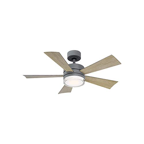 Wynd Indoor and Outdoor 5-Blade Smart Ceiling Fan 42in Graphite Weathered Gray with 3000K LED Light Kit and Remote Control