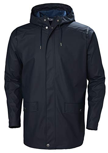 Helly Hansen Men's Moss Long Hooded Fully Waterproof Windproof Raincoat Jacket, 597 Navy, Large