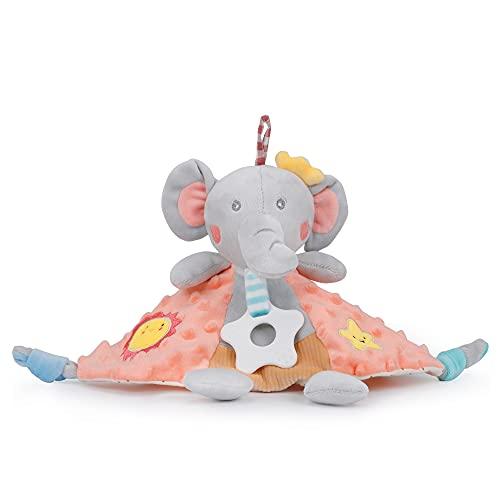 PomeloBaby Minky Dots - Manta de seguridad para bebés a partir del 1 mes (elefante naranja)