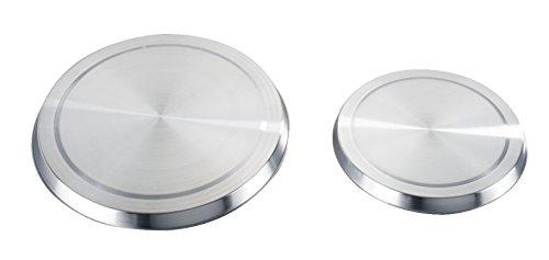 Wenko 2235504100 Herd-Abdeckplatte für Elektroherde - 4er Set, Edelstahl rostfrei, ø 16 x 2 cm, ø 20 x 2 cm