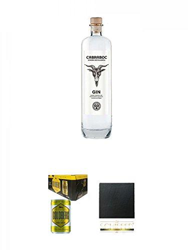 Cabraboc Gin Spanien Mallorca 0,7 Liter + Goldberg Tonic Water DOSE 8 x 0,15 Liter Karton + Schiefer Glasuntersetzer eckig ca. 9,5 cm Durchmesser