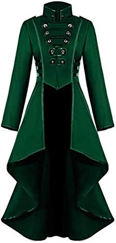 TYNS Vestido largo estilo steampunk para mujer, estilo victoriano, color verde