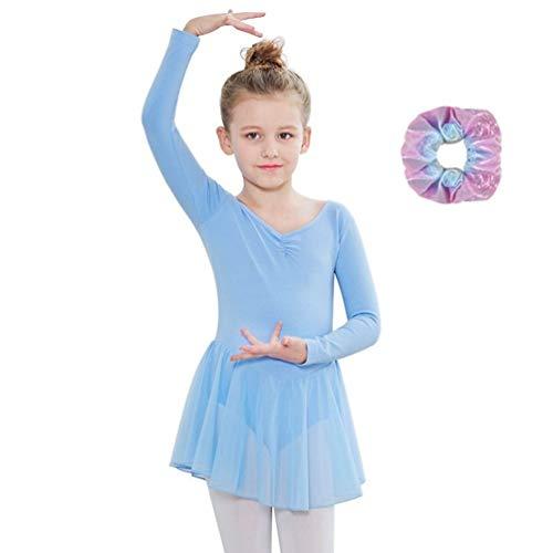 Sinoem Kinder Mädchen Ballettkleidung Ballettkleid Tanzbody Gymnastikanzug Kurzarm und Lange Ärmel Balletttrikot Kurzarm Tanzkleid aus Baumwolle mit Chiffon Kleider (M(120,5-6Jahre), Langarm-Blau)