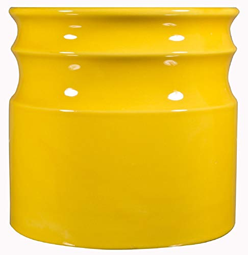 Home Essentials & Beyond 66381 7.5 D in. Turino Rings Utensil Crock - Yellow