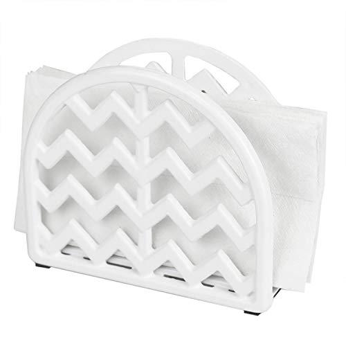 Home Basics (White) Cast Iron Chevron Design Napkin Holder, 5.7x2x4.75 Inches