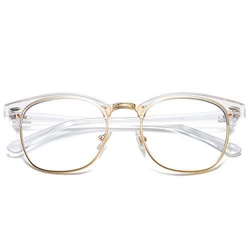 SOJOS Retro Semi Rimless Blue Light Blocking Glasses Half Horn Rimmed Eyeglasses SJ5018, Clear Frame/Gold Rim