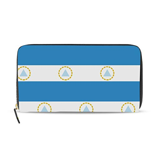 Cartera larga de cuero con la bandera de Nicaragua para mujer