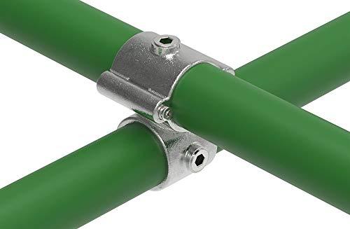 Fenau | Über-Kreuzverbinder, Rohrverbinder 90°, Kreuzstück, Ø 48,3 mm, Temperguss galvanisiert, feuerverzinkt, inkl. Schrauben