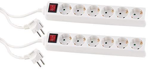 PEARL Mehrfach Doppelsteckdose: 2er Pack Schaltbare 6-Fach-Steckdosenleiste mit Kinderschutz, (Schutzkontakt-Steckerleiste)